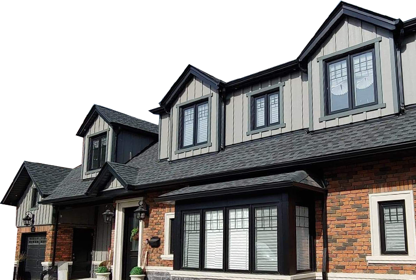 Wide Toronto townhouse with brick & aluminum siding