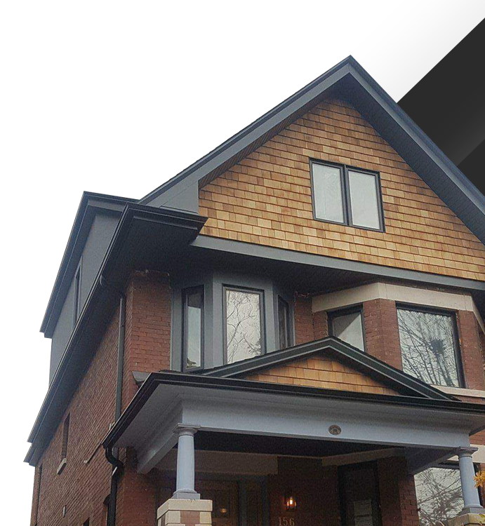 Old Toronto brick home updated with fiber cement siding