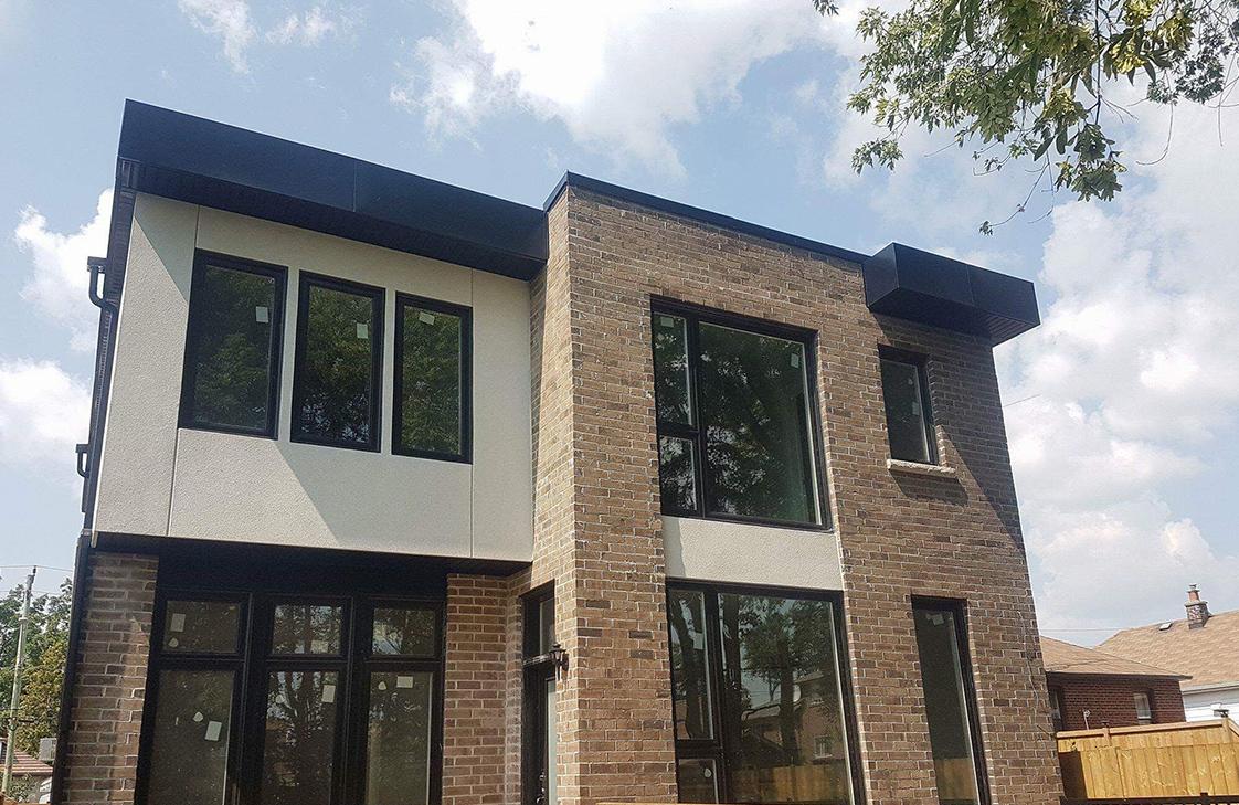 Exterior of new Toronto office with custom sheet metal trim