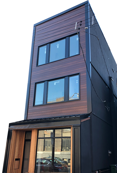 Tall Toronto commercial building with modern wood siding
